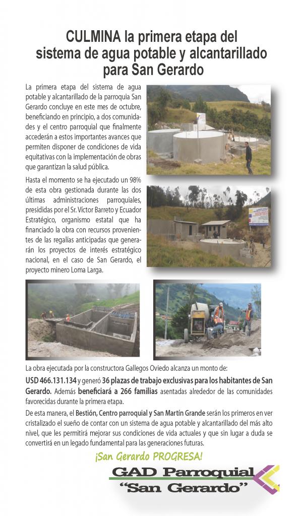 Agua potable y alcantarillado para 3 comunidades y centro parroquial.